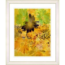 """Yellow Daisy Cups - Mocca"" by Zhee Singer Framed Fine Art Giclee Print"