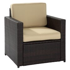 Sterling Deep Seating Arm Chair in Brown with Beige Cushions