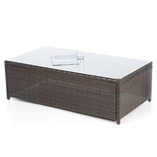 Loon Harbor Outdoor Wicker Glass Top Coffee Table
