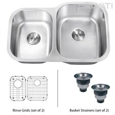 "<strong>Ruvati</strong> Parmi 32"" x 21"" Undermount Double Bowl Kitchen Sink"