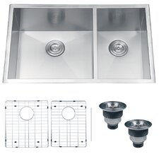 "Nesta 32"" x 20"" Undermount Double Bowl Kitchen Sink"