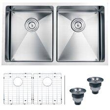 "Gravena 32"" x 19"" Undermount Double Bowl Kitchen Sink"