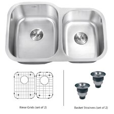 "<strong>Ruvati</strong> Parmi 32"" x 19"" Undermount Double Bowl Kitchen Sink"