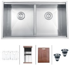 "Roma 33"" x 19"" Undermount Double Bowl Kitchen Sink"
