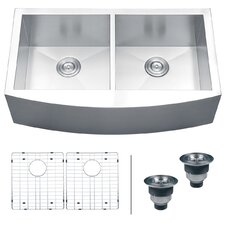 "Verona 36"" x 21"" Apron Front Double Bowl Kitchen Sink"