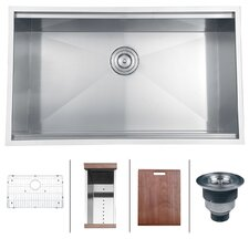 "Roma 32"" x 19"" Undermount Single Bowl Kitchen Sink"