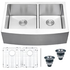 "Verona 33"" x 22"" Apron Front Double Bowl Kitchen Sink"