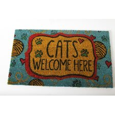 "Mr. Snugs ""Cats Welcome Here"" Cat Expressions Coir Rug"