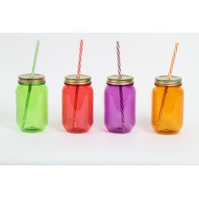 Farm to Table 24 oz. Acrylic Mason Jar Lid and Straw (Set of 4)