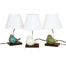 "Crackle Ceramic Bird 14.5"" H Table Lamp with Empire Shade"