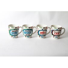 Lucky Dog Sassy Sayings Stoneware 20 oz. Jumbo Mug (Set of 4)