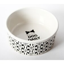 "Unleashed ""Kiss Your Dog Daily"" Stoneware Dog Bowl"