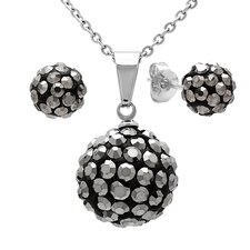 Stainless Steel Diamond Ball Earrings and Pendant Set