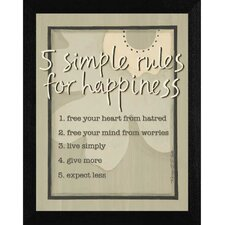 Five Simple Rules Framed Textual Art