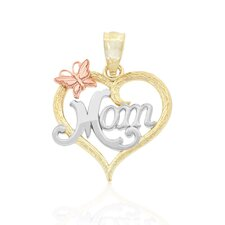 """Mom"" in Heart With Butterfly Charm"