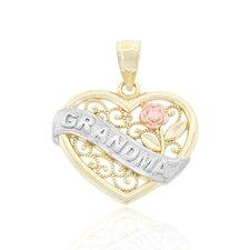 """Grandma"" Banner Filigree Heart Charm"
