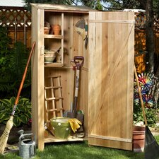 Western Red Cedar 27in. W x 19.5in. D Hardwood Doweling Garden Storage Shed