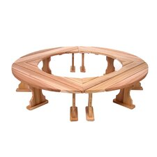 Round Wood Tree Bench (Set of 4)