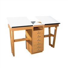 <strong>Shain</strong> A-Frame Two Station Table with Adjustable Top and Drawers