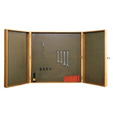 "Three Section Storage Cabinet with 1/8"" Pegboard"