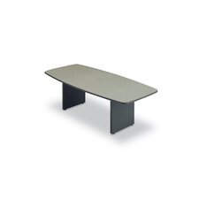 "<strong>ABCO</strong> 96"" Wide T-Mold Boat Shape Top Conference Table with Slab Base"