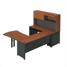 "Endure 102"" W U-Shape Right Configuration Executive Workstation with Hutch"