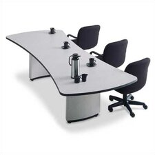 "<strong>ABCO</strong> 72"" Presentation Top Conference Table with Curved Plinth Base in Dove Gray with Black Edging"