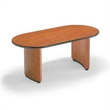 "<strong>ABCO</strong> 144"" Wide Two-Section Self Edge Oval Top Conference Table with Plinth Curve Base"