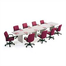 "144"" Wide T-Mold Boat Shape Top Conference Table with Slab Base"