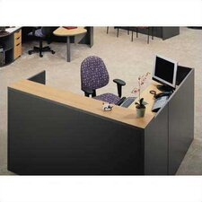 "Unity Series 72"" x 78"" Reception Desk with Matching 2-Drawer Partial Pedestal"