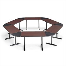 "<strong>ABCO</strong> Smart Tables: 18"" x 60"" Rectangle Thermofused Melamine Conference Table With Fixed Bases and 60 Degree Corner Wedges"