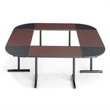 "<strong>ABCO</strong> Smart Tables: 18"" x 48"" Rectangle Thermofused Melamine Conference Table With Fixed Bases and 90 Degree Corner Wedges"