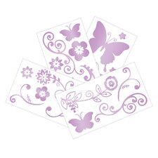Butterfly Lane 4 Piece Wall Appliques Set