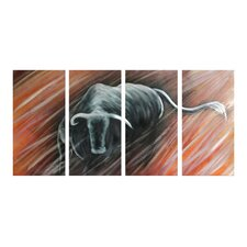 Animal Sculptures Bull Run 4 Piece Original Painting Plaque Set