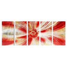 Abstract Sculptures Dandelion Passion 5 Piece Original Painting Plaque Set