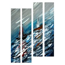 Abstract Sculptures Sailboats on Turbulent Seas 4 Piece Original Painting Plaque Set