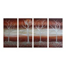 Tree Sculptures Forest Sunrise 4 Piece Original Painting Plaque Set