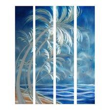 Tree Sculptures Swaying Palms 4 Piece Original Painting Plaque Set