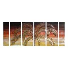 Tree Sculptures Picturesque Palm Tree 6 Piece Original Painting Plaque Set