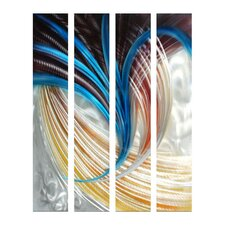 Abstract Sculptures Enlightened 4 Piece Original Painting Plaque Set