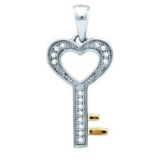 Sterling Silver Key Diamond Pendant
