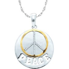 Sterling Silver Peace Diamond Pendant
