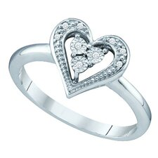 <strong>Goldia</strong> 10k White Gold Heart Diamond Ring