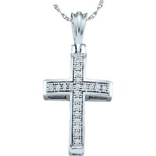 <strong>Goldia</strong> 10k White Gold Cross Diamond Pendant