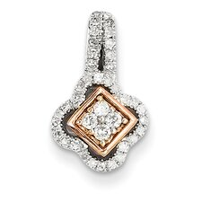 Sterling Silver Rhodium Plated & 14k Rose Gold Diamond Pendant