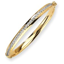 <strong>Goldia</strong> 14k Yellow Gold Diamond Fascination Hinged Baby Bangle Bracelet