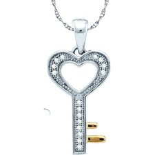 10k White Gold Key Diamond Pendant