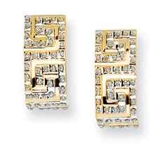 <strong>Goldia</strong> 14k Yellow Gold Diamond Fascination Greek Key Post J Hoop Earrings