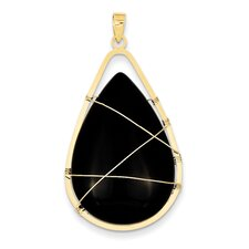 14k Yellow Gold Wire Wrap Teardrop Agate Pendant