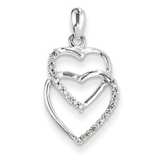 <strong>Goldia</strong> 14K White Gold Entwined Hearts Diamond Pendant